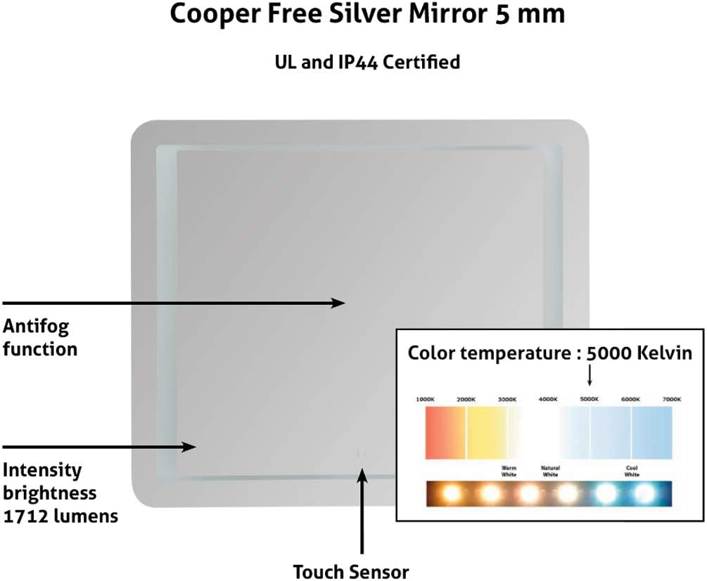 Anti-Fog |35 3//8 X 30 X1 3//4| White Cold Ul Certified| Rectangular Super-Sensitive Touch Sensor ON//Off Horizontal LED Lighted Bathroom Vanity Wall Mounted Mirror Silver Glass Mirror
