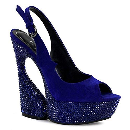7 Day sandals sexy 654DM Night Pleaser rhinestones heels platform high 5 suede with designer 2 Swan amp; aPwdXxqg