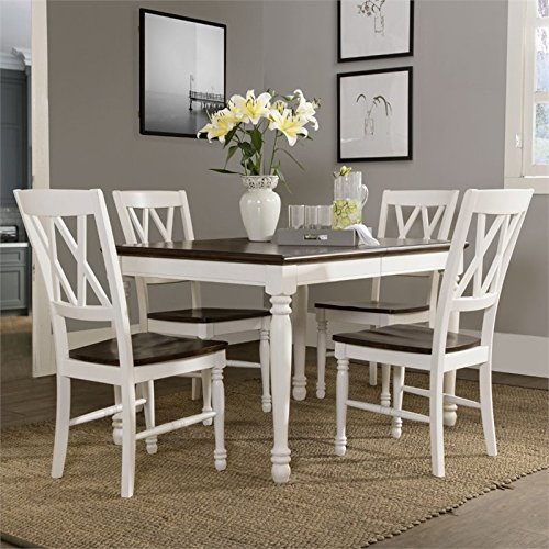 (Crosley Furniture KF20003-WH Shelby 5-Piece Dining Set, White)