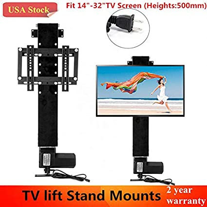 Motorized TV Lift Mount Bracket with Remote Controller Fit for 14