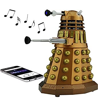 Doctor Who Dalek Merchandise Fametek Bluetooth Speaker – Plays Music, Lights Up, Sounds Effects Unique Gifts for Men – Great for Dad Birthday Gifts Anniv. Gadgets Merch Toy Geek Nerd Collectibles