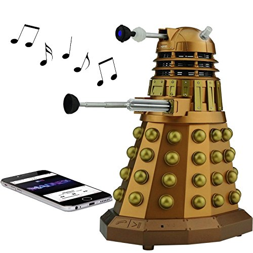 Doctor Who Dalek Merchandise | Fametek Bluetooth Speaker - Plays Music, Lights Up, Sounds Effects | Unique Gifts for Men - Great for Dad Birthday Gifts Anniv. Gadgets Merch Toy Geek Nerd Collectibles (Best Male Singers Today)