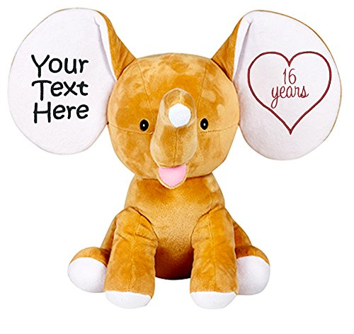Personalized Stuffed Tan Elephant with Embroidered Anniversary Heart and Message