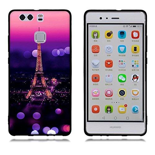 Funda Huawei P9, FUBAODA [Flor rosa] caja del teléfono elegancia contemporánea que la manera 3D de diseño creativo de cuerpo completo protector Diseño Mate TPU cubierta del caucho de silicona suave pa pic: 15