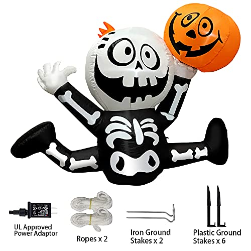 Halloween Inflatables 5 FT Cute Skeleton Holding up Pumpkin, Blow up Yard Decorations Clearance with bulit-in LED Lights, Outdoor Inflatable Halloween Decorations for Holiday Party Garden Lawn Decor