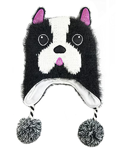 Chenille Giraffe - Sweet Giraffe Chenille French Bulldog Winter Poms Hat : Charcoal/White (Large)