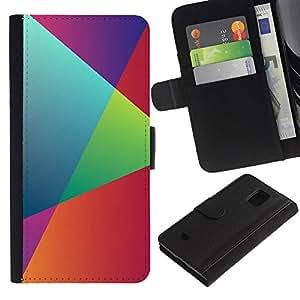 KLONGSHOP // Tirón de la caja Cartera de cuero con ranuras para tarjetas - Geometría del arco iris - Samsung Galaxy S5 Mini, SM-G800 //