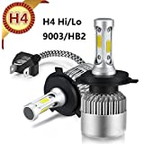 H4 Car LED Headlight Bulbs All-in-One Conversion Kit Plug and Play White COB Chip 72W 8000LM 6500K Auto Head Lamp 12V Replace for Halogen HID Lighting S2 H1 H3 H7 H11 H13 9005 9007(H4/9003/HB2 Hi/Lo)