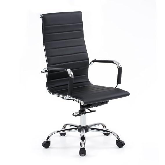 IKAYAA SP-7501-2 - Silla de Escritorio de Ordenador Oficina Reuniones con Respaldo Ergonómico (Giratorio,Adjustable de Altura,de Cuero)