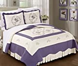 BNF HOME Classic Embroidered Prewashed Lilac Roses Microfiber Cotton Filled Bedspread Quilt Blanket 3 Pieces Bed Set (King)