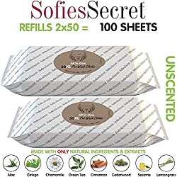 SofiesSecret Pet Wipes for Dogs+Cats, 100XL Wipes (2x50), UNSCENTED, All in ONE Grooming, 100% Natural Oils & Extracts, Extra Thick, Ultra Soft, Extra Large, Cruelty Free & Vegan