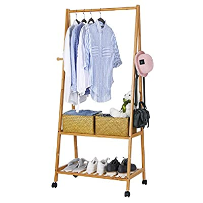 SONGMICS Clothes Rack on Wheels, Rolling Garment Rack with 2-Tier Storage Shelves, Hall Tree with 4 Coat Hooks for Shoes, Clothing, Bamboo URCR52N - SAY HELLO TO BAMBOO: Say goodbye to cold, rigid garment racks and flimsy wooden shelves! Warm up your room with this eye-pleasing natural bamboo rack. It will surprise you with its stability and durability ALL-IN-ONE PIECE: Whether it's your coats, shoes, bags, or scarves, they can all find their place on this multi-purpose rack. You no longer need to run between a coat rack, shoe shelf, and closets when coming back from work 2 WAYS TO USE: Use it with casters? Sure! They will help you roll the clothes rack from room to room without issue. Don't forget about the 2 brakes that help you keep it in place. Want to use it without casters? No problem - you can do that too! - hall-trees, entryway-furniture-decor, entryway-laundry-room - 51ZElWjXGiL. SS400  -