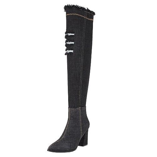 52cabcf27a3fd Artfaerie Women s Fashion Denim Over Knee Boots Pointed Toe Block High Heel Thigh  High Boots(