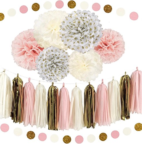 Ella Mint 20PCS Tissue Craft Decoration Kit | Pretty Party Supplies: Pom Flowers, Garland & Tassels | Pastel Pink, Gold Polka Dot & Yellow | Perfect poms for a baby shower or girls first 1st birthday.