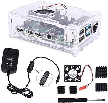 Caja para Raspberry Pi 4, Cargador 5V / 3A USB-C con Interruptor ON/Off, Ventilador 4 x Disipador de Calor para Raspberry Pi 4 Modelo B (EP025)
