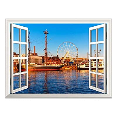Stunning Craft, Removable Wall Sticker Wall Mural Majestic River View with a Ferris Wheel and Ships Creative Window View Wall Decor, Quality Creation
