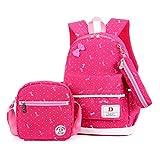 SUNSHAK Girls School Backpacks Shoulder Book Bag + Lunch Bag + Pencil Case Set(Rose)
