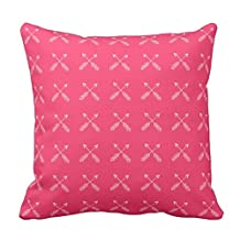 Deep Pink with White Arrow Print Zippered Decorative Pillow Cushion Case Covers for Sofa 18x18 Inch Two Sides
