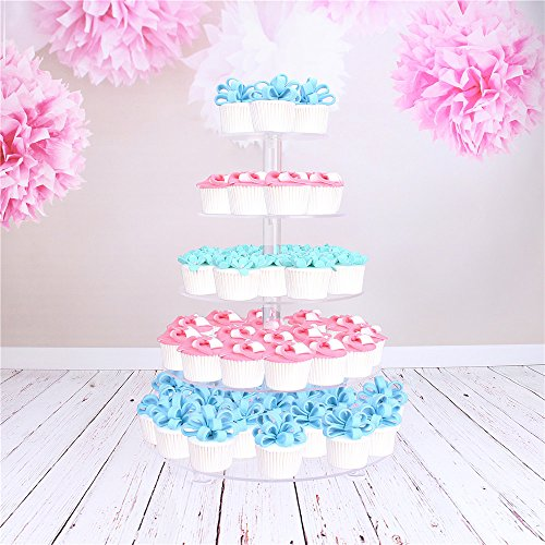 Clear Acrylic Wedding Cake Stand/Cupcake Stand Tower/Food Display Stand (5 Tire Round With Base)