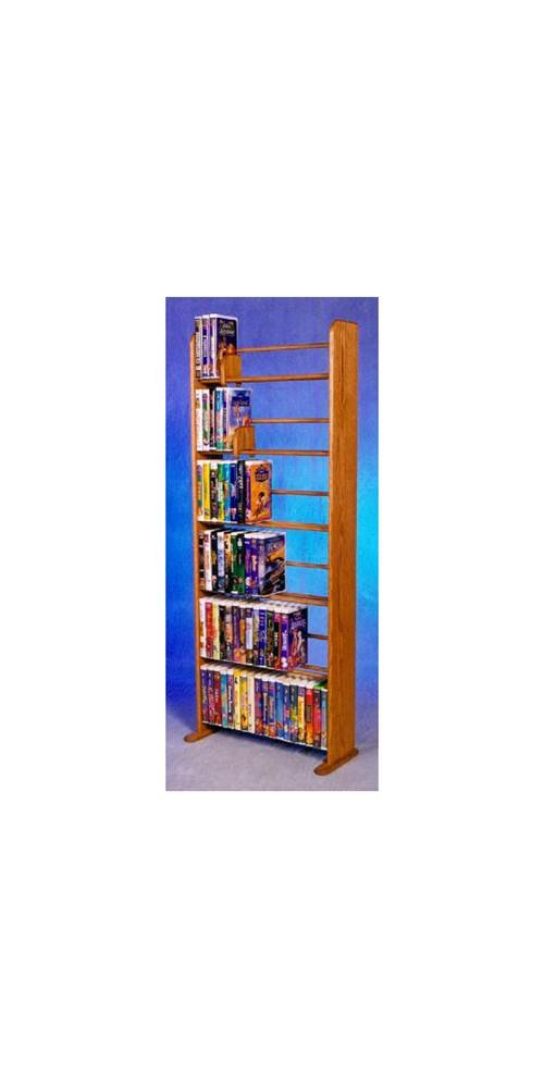 6 Row Dowel VHS Rack (Honey Oak)