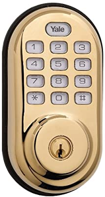 Yale Real Living Electronic Push Button Deadbolt Fully Motorized with Zwave Technology, Polished Brass