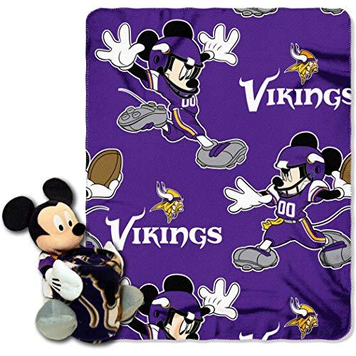 2piezas NFL Vikings manta juego completo con Disney personaje de Mickey Mouse con forma de almohada cama, deportes...
