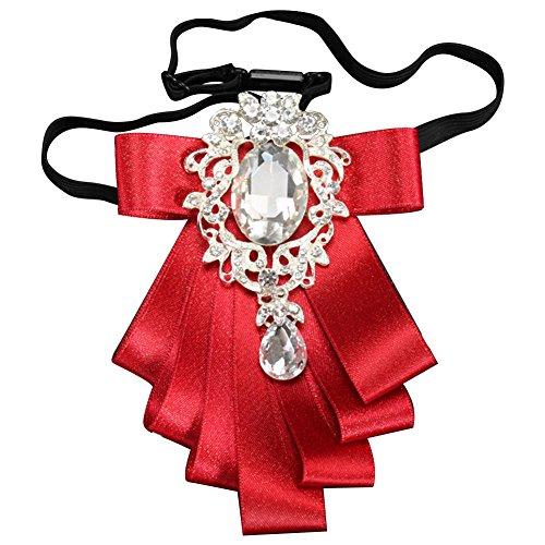 Funbase Crystal Adjustable Bowtie Multilayer Ribbon Collar Pin For Wedding