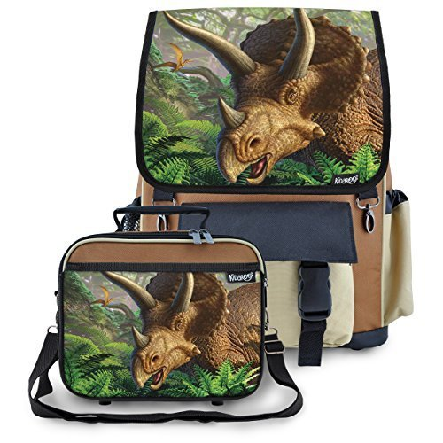 High Quality Backpack & Lunch Box With Triceratops Jungle Dinosaur Interchangeable Flaps (brown)