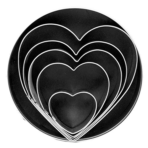 Fox Run 3680 Heart Cookie Cutter Set, Stainless Steel, 5-Piece (Heart Shaped Cookie Cutter)