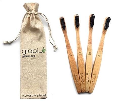 Cepillo de dientes de bambú - biodegradable, ecológico y ergonómicamente diseñado mango de bambú. Sin BPA, cerdas de nailon con carbón infusionado.