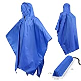 Rain Poncho adult Waterproof Raincoat Multi-use Portable Ground Mat With Hoods For Men Women Hiking Camping Outdoor(Blue,One Size Fit All)