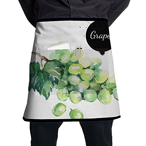 (XiHuan Grill Aprons Kitchen Chef Bib Hand Drawn Watercolor Painting On White Background Organic Illustration Of Fruit Grapes Professional For BBQ Baking Cooking For Men Women Pockets)