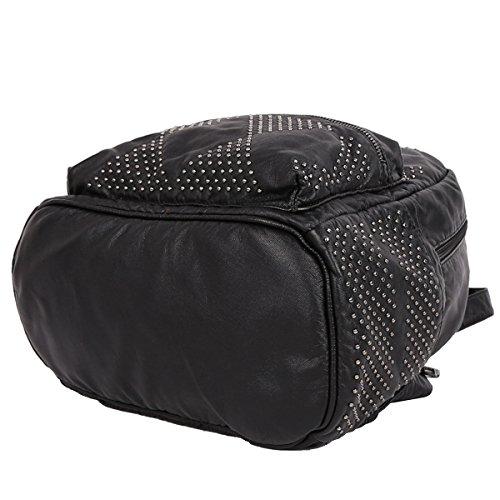 21K Mochila de Tamaño Medio Mochila de Varias Capas de Cuero PU Mujer XS160251 Negro