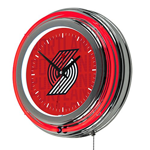 Trademark Gameroom NBA1400-PTB3 NBA Chrome Double Rung Neon Clock - City - Portland Trailblazers by Trademark Global