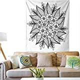 Pattern Tapestry Hand Drawn Floral Doodle Coloring Pages for Book Illustration Circle Ink Coloring Drawing Activity Formal Garden 60W x 80L INCH
