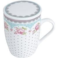 Conjunto Caneca com Tampa e Filtro de Porcelana Amelia Lyor Rosa/ Branco