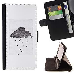 For Sony Xperia Z3 D6603 Case , Nube Gris Blanco Pequeño Emo Sad- la tarjeta de Crédito Slots PU Funda de cuero Monedero caso cubierta de piel