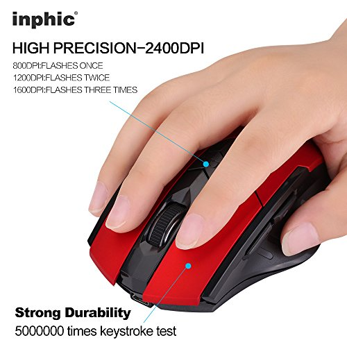 Wireless Mouse, inphic Rechargeable Gaming Mouse with USB Nano Receiver for Notebook, PC, Laptop, Computer, Macbook (Red plating) Photo #7