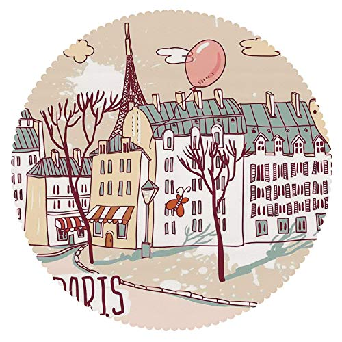 iPrint Anti-Bacterial Round Tablecloth [ Paris,Illustration of Paris with Old City Buildings and Eiffel Urban Street Balloon,Cream Pink Green ] Fabric Home Set