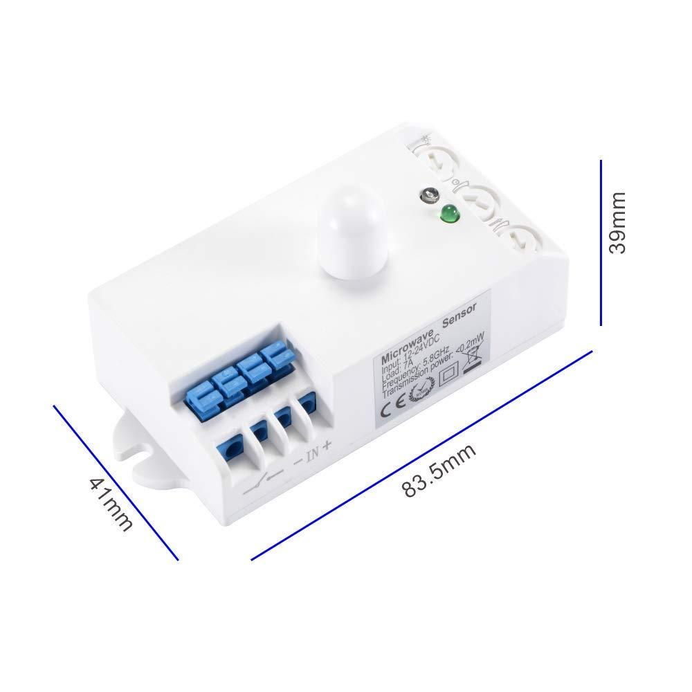 Detector de Movimiento de microondas de 360 ° Sensor de Radar Interruptor de luz DC 12-24V: Amazon.es: Industria, empresas y ciencia
