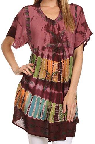 Sakkas 70SE Alohanani Caftan Dress / Cover Up - Wine - One Size