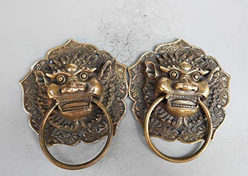 Brass - Chinese Archaize Brass Archaize Lion Head Door Rings Crafts Statue - by GTIN - 1 Pcs - Lions Status - Lion Figurine Statue - Crown Lion Statue - Lion Concrete Statue