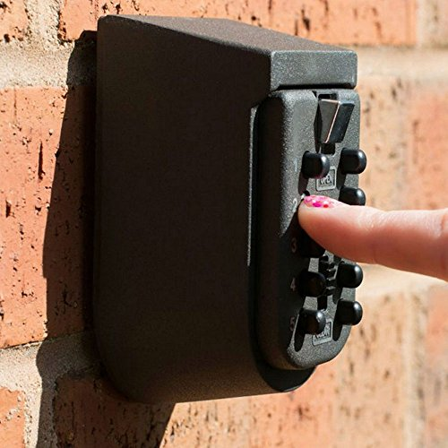 Key Safe Lock Box Outdoor Storage Box with Code Combination Password Security Lock Waterproof Wall Mount Push Button for Home Family Realtor 10-Digits