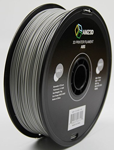 AMZ3D 1.75mm Grey ABS 3D Printer Filament - 1kg Spool (2.2 lbs) - Dimensional Accuracy +/- 0.03mm