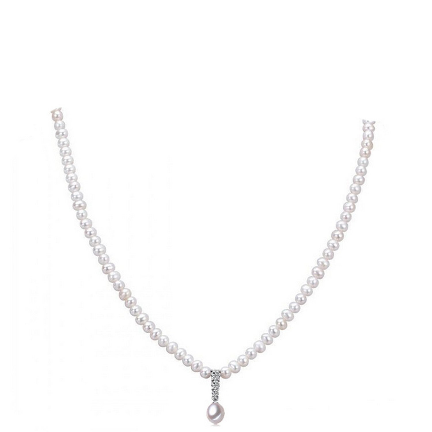CS-DB Jewelry Silver Pearl Wedding Engagement Chain Charm Pendants Necklaces