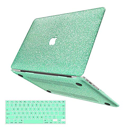 MacBook Pro 13 Case 2018 2017 2016 Release A1989/A1706/A1708,Anban Glitter Bling Smooth Shell Slim Snap On Case with Keyboard Cover Compatible for Newest Mac Pro 13 with/Without Touch Bar,Mint Green ()