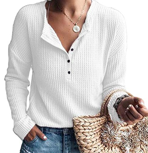 (WSPLYSPJY Women Henley Shirts Long Sleeve Ribbed Button Down Basic Tops Tees White S)