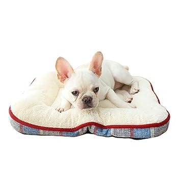 Bwiv Cojín para Perros Cama Cómodo Cuadrado Lino a Cuadros Simple Calinte Mascotas para Descanso Interior Otoño y Invierno Azul L/85×71CM: Amazon.es: ...