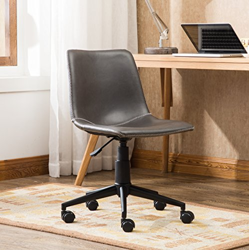 Roundhill Furniture OF1012GY Cesena Faux Leather 360 Swivel Air Lift Office Chair Gray