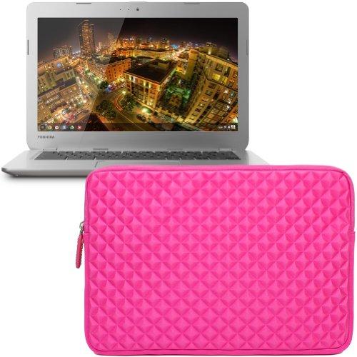 Evecase Premium Neoprene Zipper Sleeve Case Travel Carrying Storage Computer Bag for Toshiba CB35-B3340 13.3-Inch Chromebook 2 / CB35-A3120 Chromebook 1st, KIRAbook 13i7s 13.3'' Laptop - Hot Pink